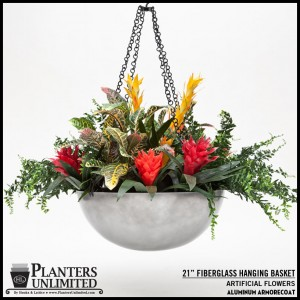 Fiberglass Hanging Basket - Aluminum