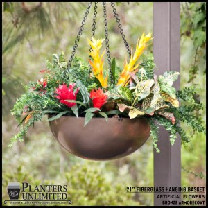 Fiberglass Hanging Basket - Bronze
